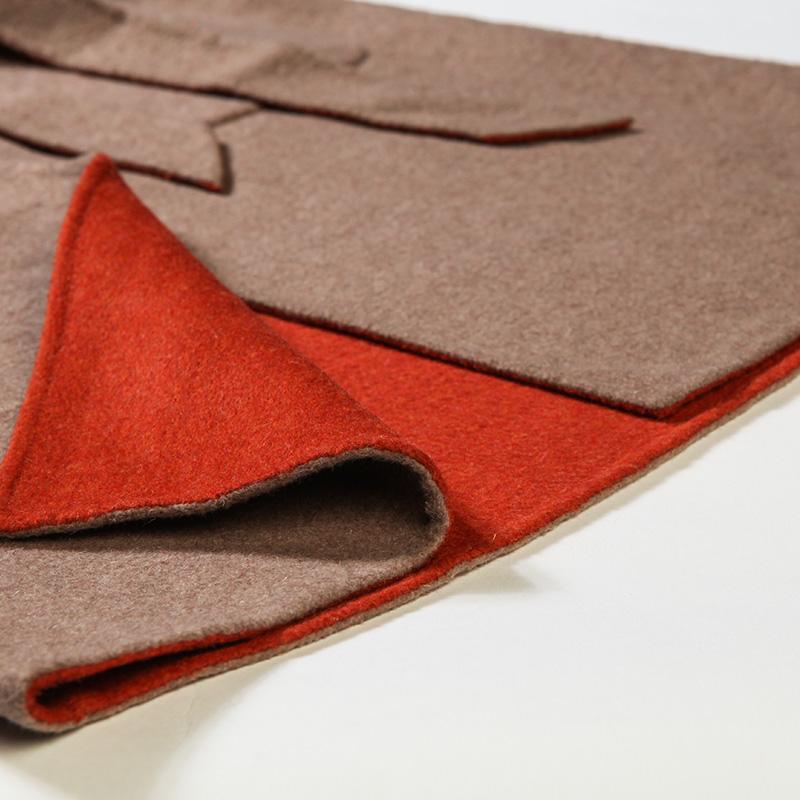 阿尤原创女装秋冬新款两色拼接毛呢大衣外套女A1641129高清大图