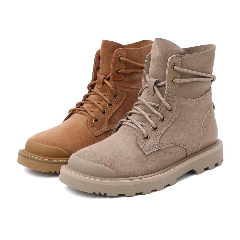U5R1DDD9 冬新商场同款牛剖层皮女加绒工装靴 2019 百丽短靴