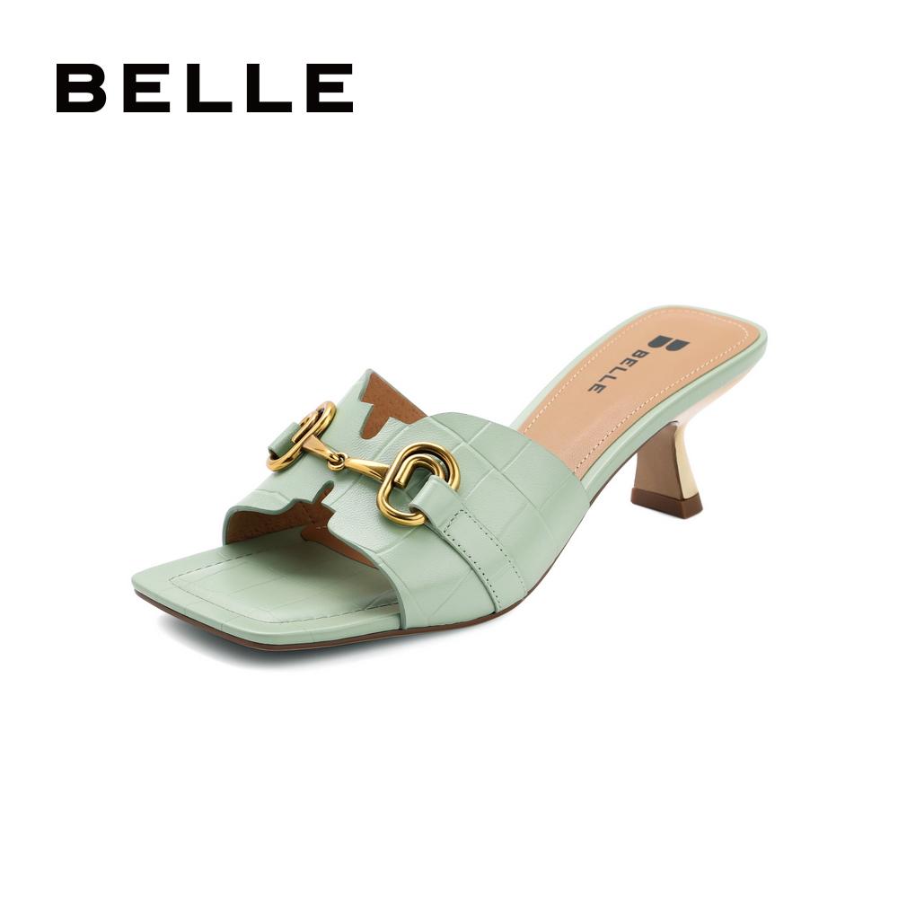 聚促 3LRC3BT1 夏新商场同款女高跟拖鞋外穿时装凉鞋 2021 百丽几何拖