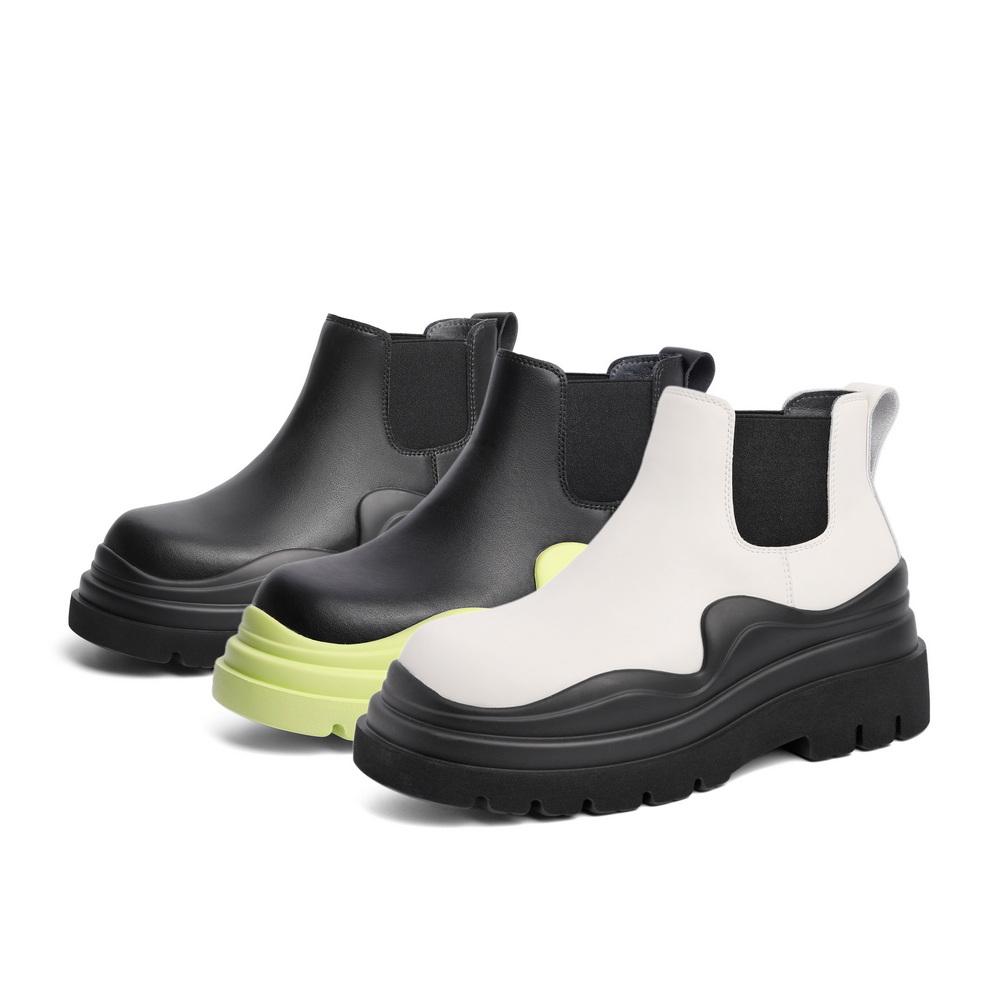 B0601DD1 冬新款松糕底撞色潮流短靴子 2021 百丽厚底切尔西靴女