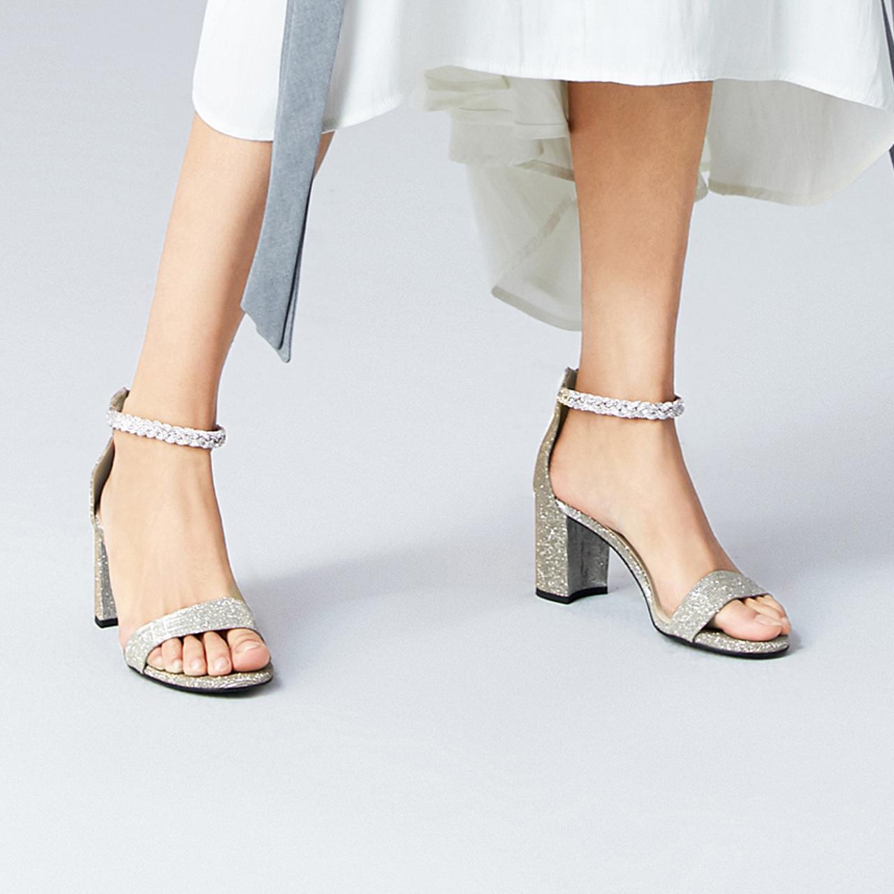 聚 BPFJ1BL0 夏商场新款幻彩亮片粗跟凉鞋 2020 百丽仙女一字带凉鞋女