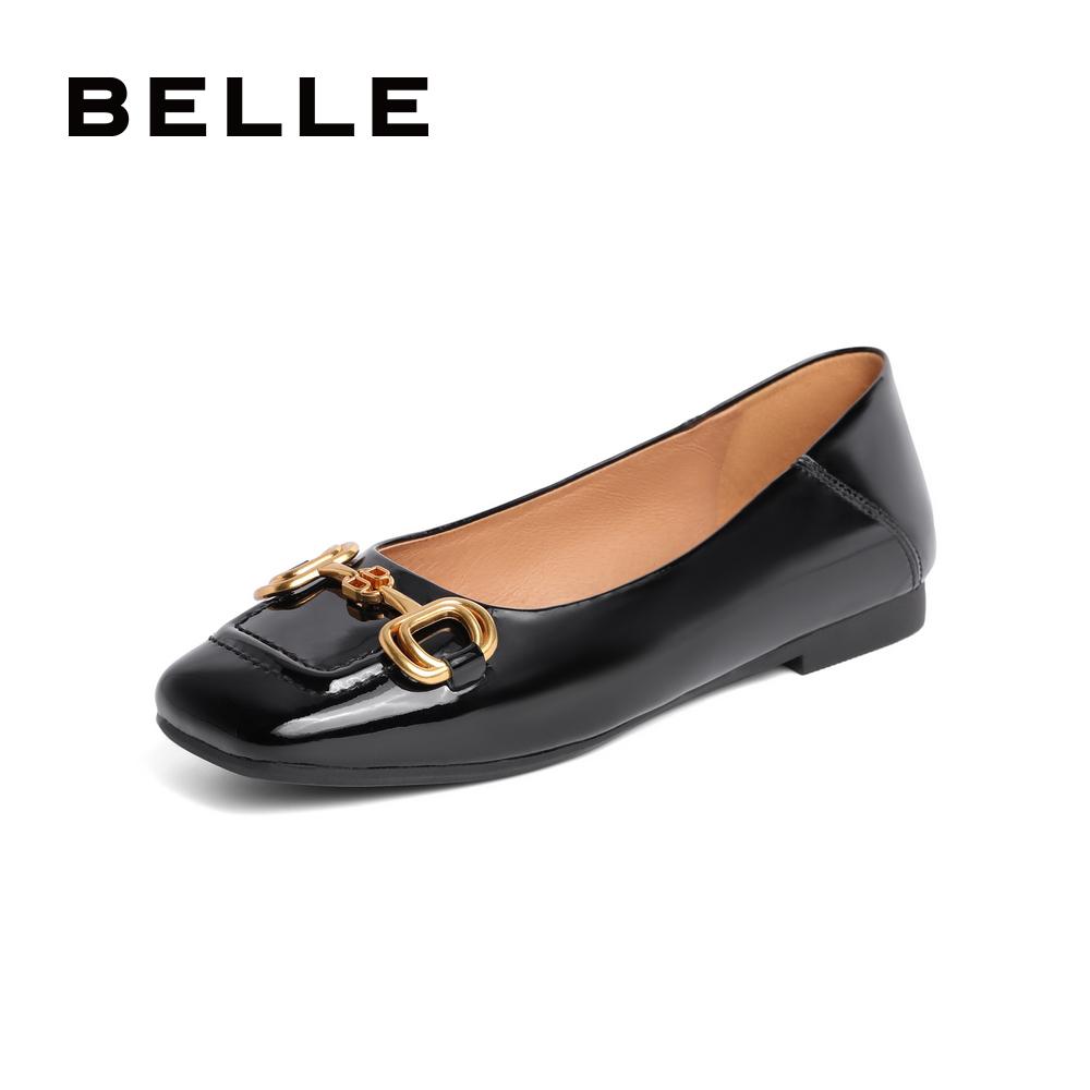 聚 3TS15CQ1 夏新商场同款牛皮革复古通勤皮鞋 2021 百丽平底单鞋女