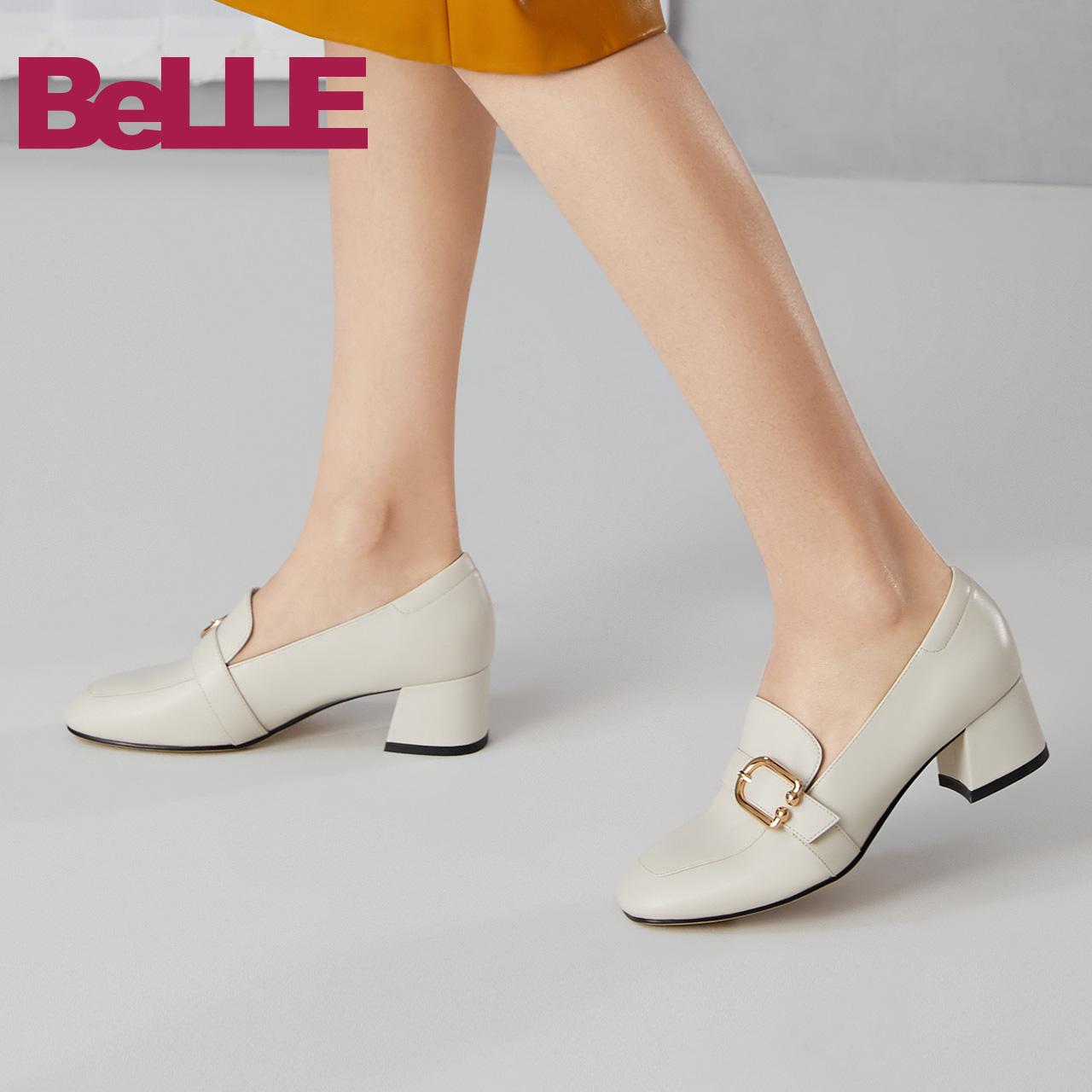 BZ9A1CM9 秋新牛皮革粗跟单鞋 2019 百丽英伦风乐福鞋女