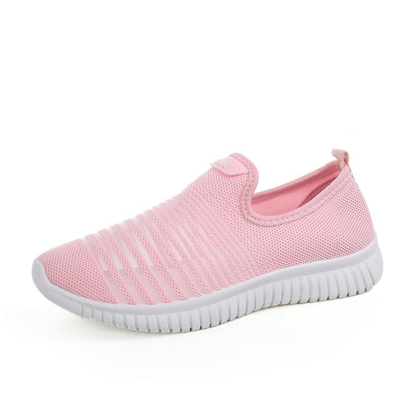 小白鞋女2019夏季新款透气网鞋一脚蹬懒人韩版学生百搭运动跑步鞋