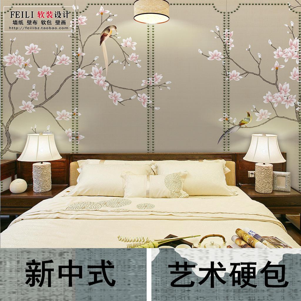 订制新中式手绘丝绸风格花鸟软包硬包客厅卧室背景酒店无缝壁画墙