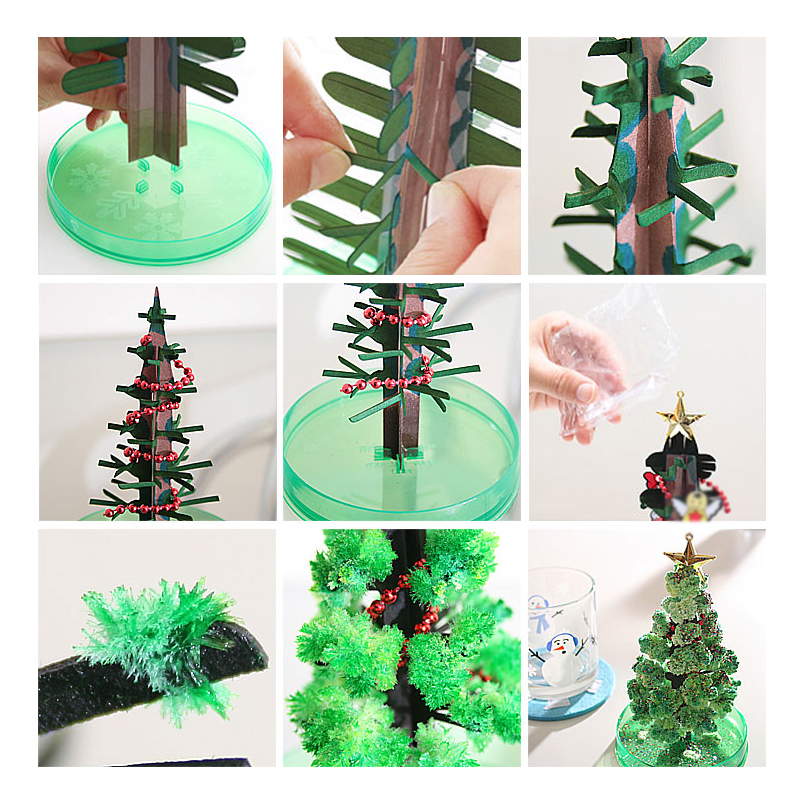 纸树开花圣诞树创意桌面工艺摆件科学六一儿童节玩具朋友同学礼物
