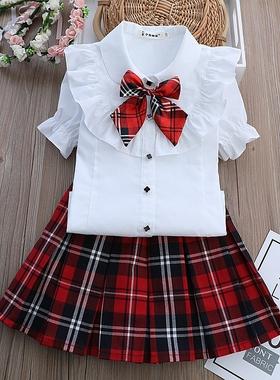 小学生校服夏装洋气女孩短袖衬衣半身裙子衬衫套装幼儿园园服英伦