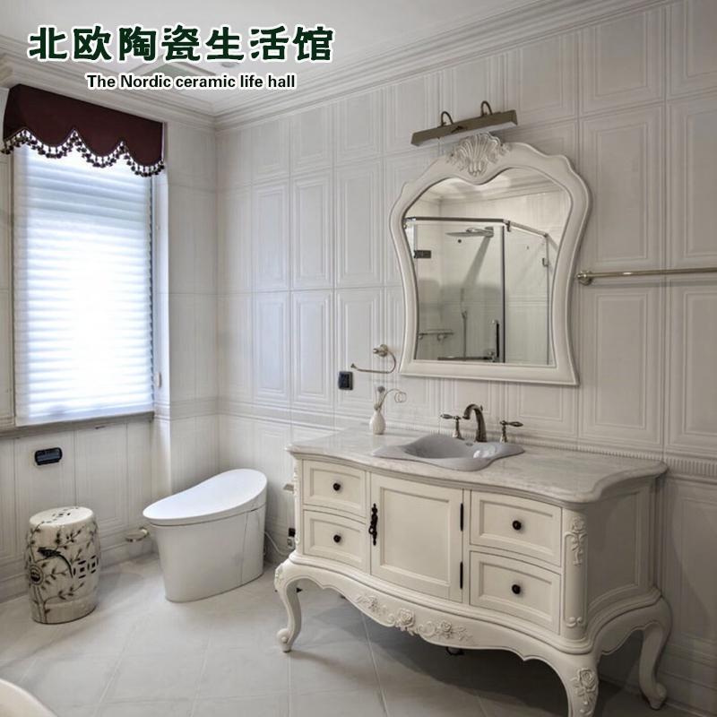 欧式仿门框墙砖300x600卧室餐厅哑光白墙裙砖卫生间瓷砖厨房阳台