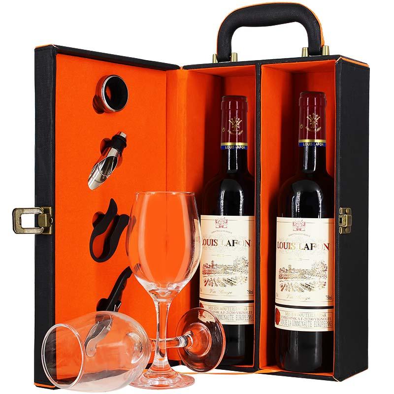 2 支路易拉菲法國原瓶進口干紅葡萄酒送禮酒杯順豐包郵 紅酒禮盒裝