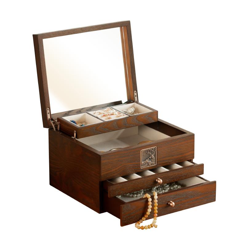 耳钉耳环项链收纳盒饰品首饰盒大容量木质抽屉式家用珠宝盒化妆镜