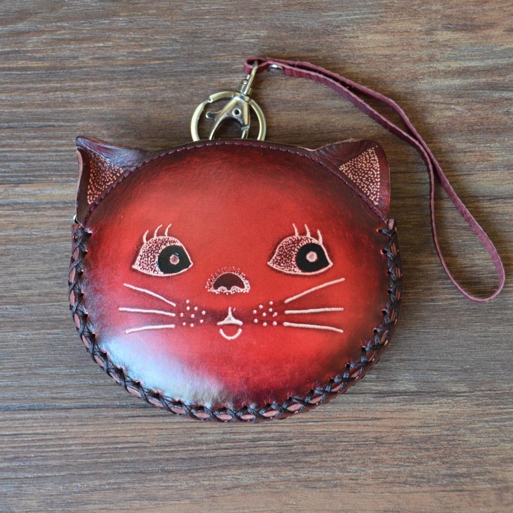 牛皮可愛貓咪硬幣包卡通動物手工包小錢包創意真皮零錢包女迷你包