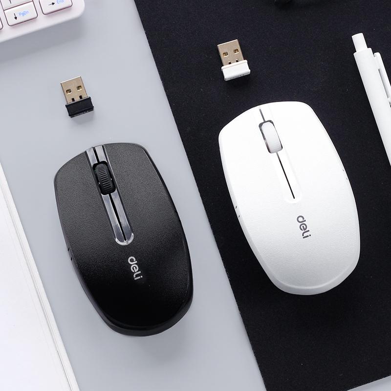 得力3738無線滑鼠黑色白色 筆記本臺式電腦滑鼠 家用辦公移動便攜