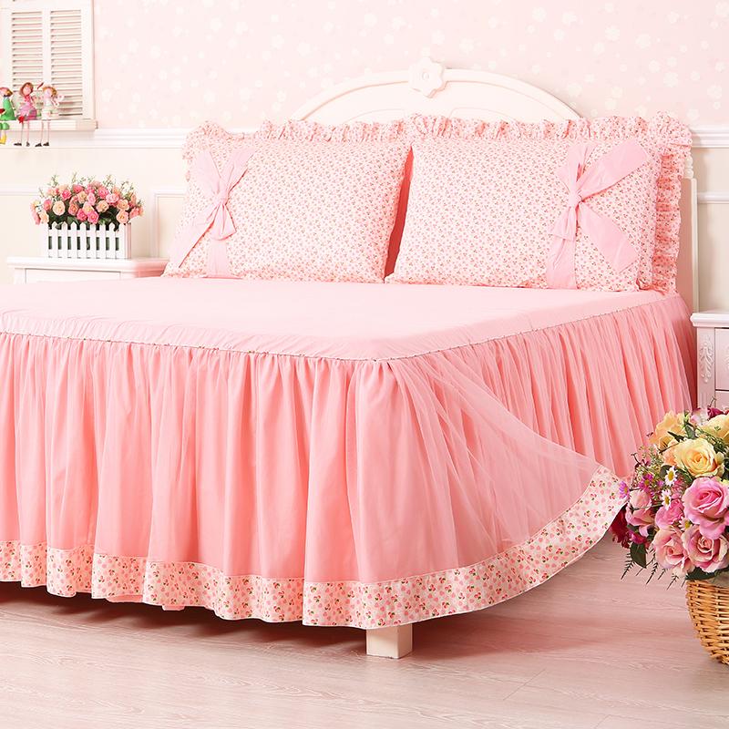 公主风蕾丝床裙款床上四件套纯棉欧式儿童少女夏季床单被套粉色