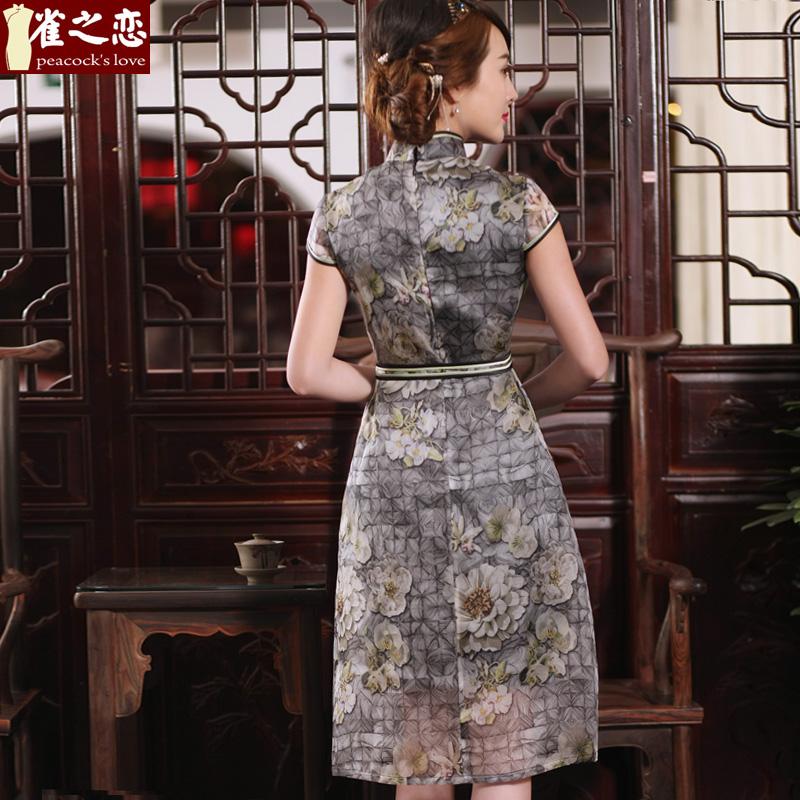 雀之恋黯自添香 2018春夏真丝旗袍连衣裙桑蚕丝宽松显瘦连衣裙