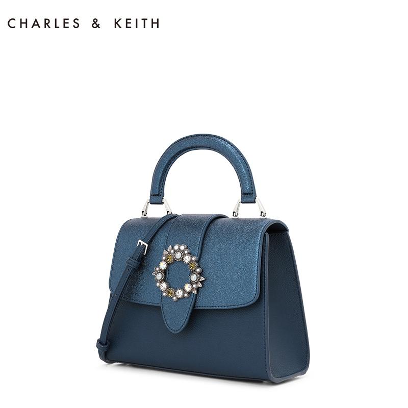 半宝石圆扣装饰女士手提包 50270144 CK2 单肩包 KEITH & CHARLES