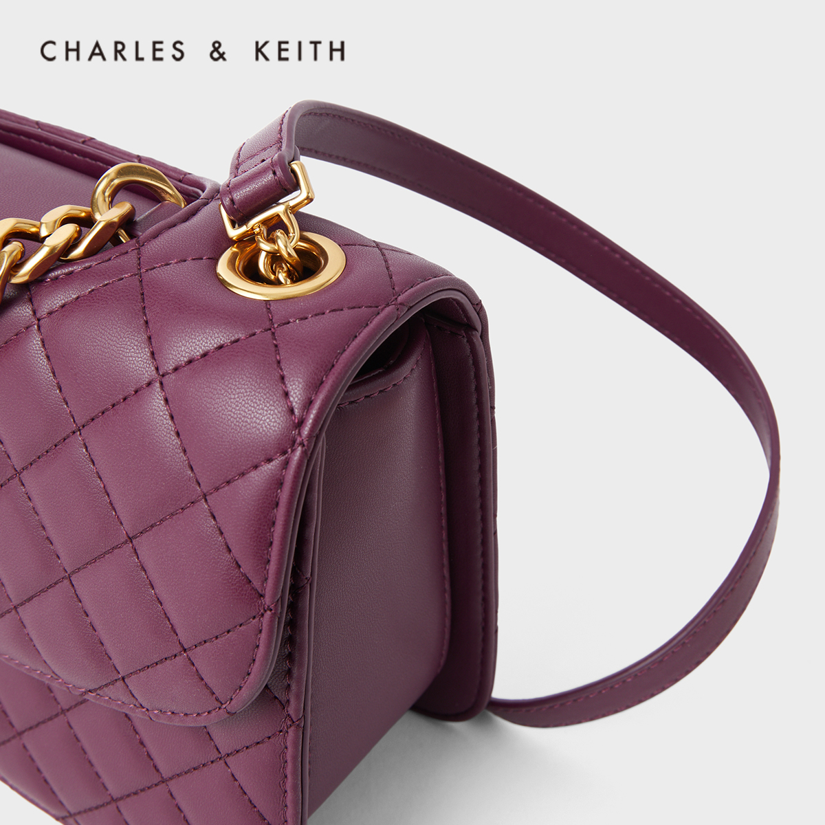 女士链条单肩包菱格包 1 70701062 CK2 小香风 KEITH & CHARLES