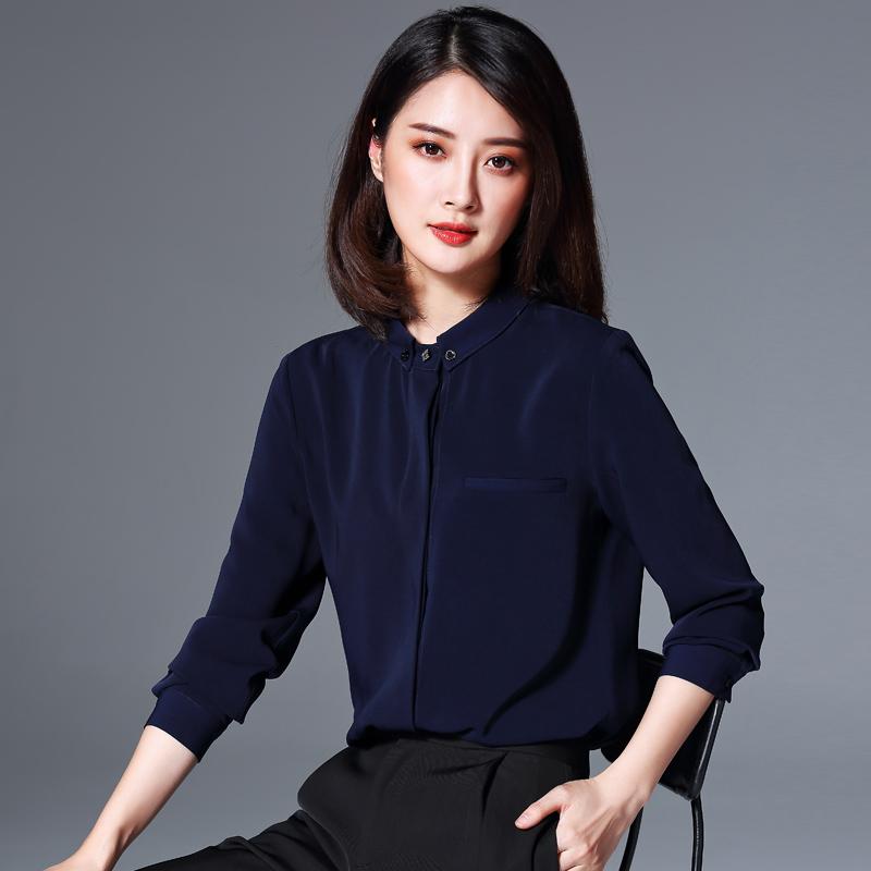 职业衬衫女长袖设计感小众衬衣秋冬轻熟时尚洋气加绒加厚雪纺上衣