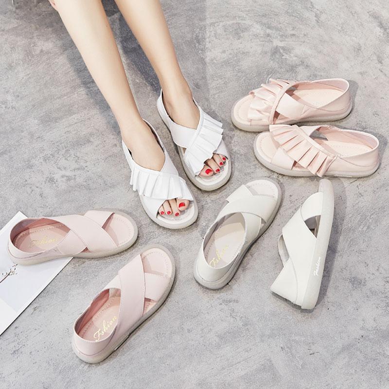 真皮果冻鞋凉鞋女2021年新款夏季仙女风百搭软平底大码凉拖鞋外穿