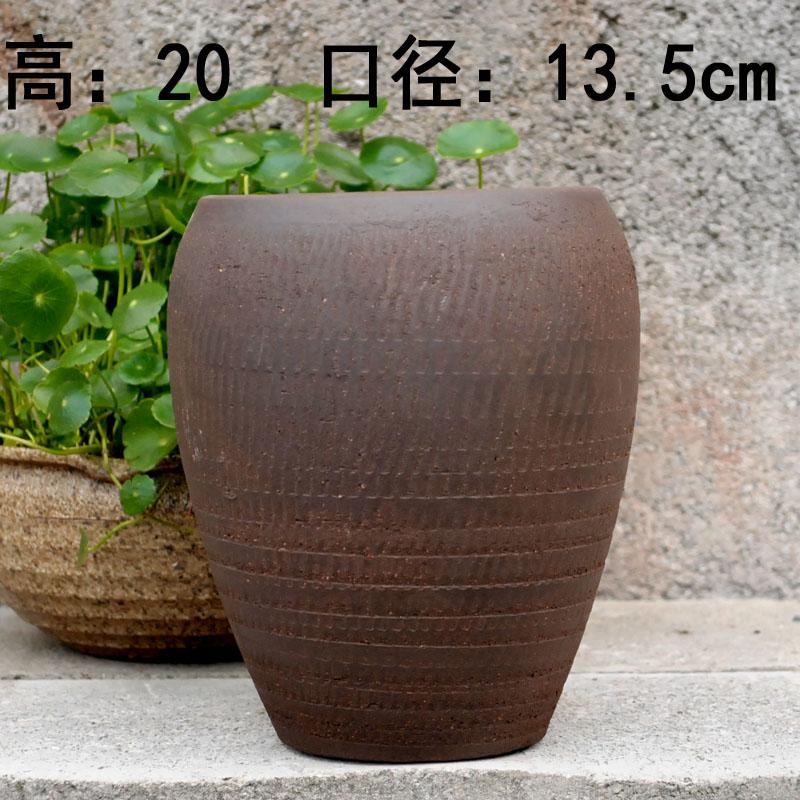 多肉植物花盆红陶粗陶瓷花盆陶土素烧陶罐高透气古朴老桩盆大口径