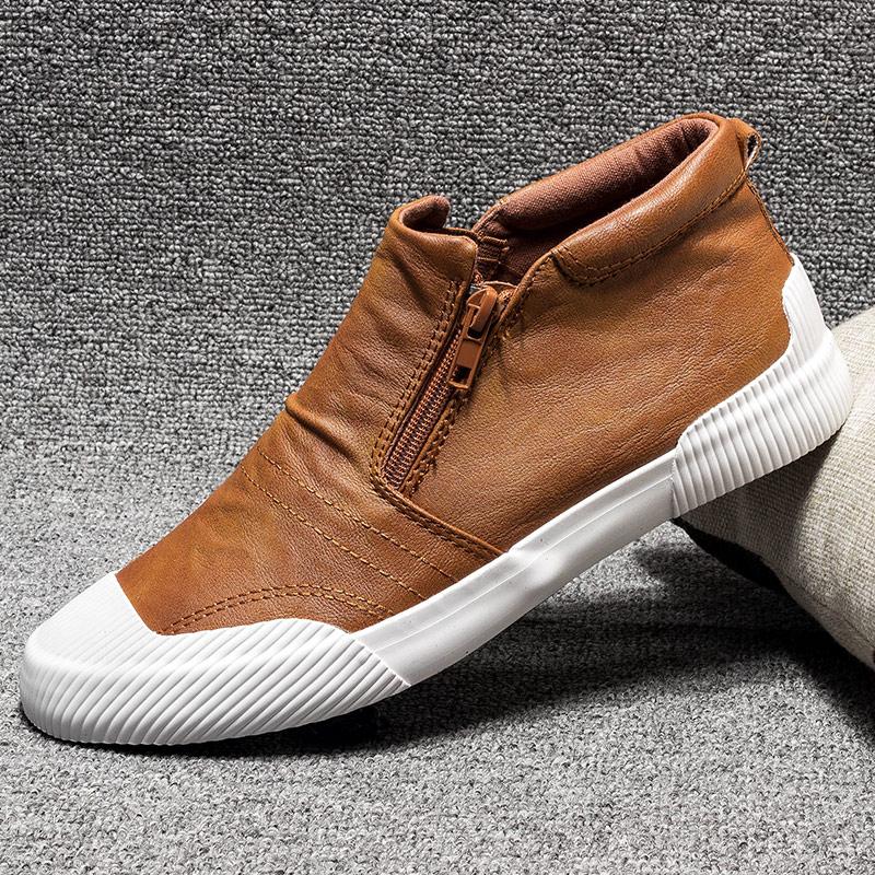 高帮鞋男鞋夏季韩版潮流中帮男士休闲鞋皮鞋百搭英伦皮面高邦板鞋