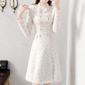白色小香风连衣裙女秋冬气质年会小礼服平时可穿毛呢A字裙子加厚