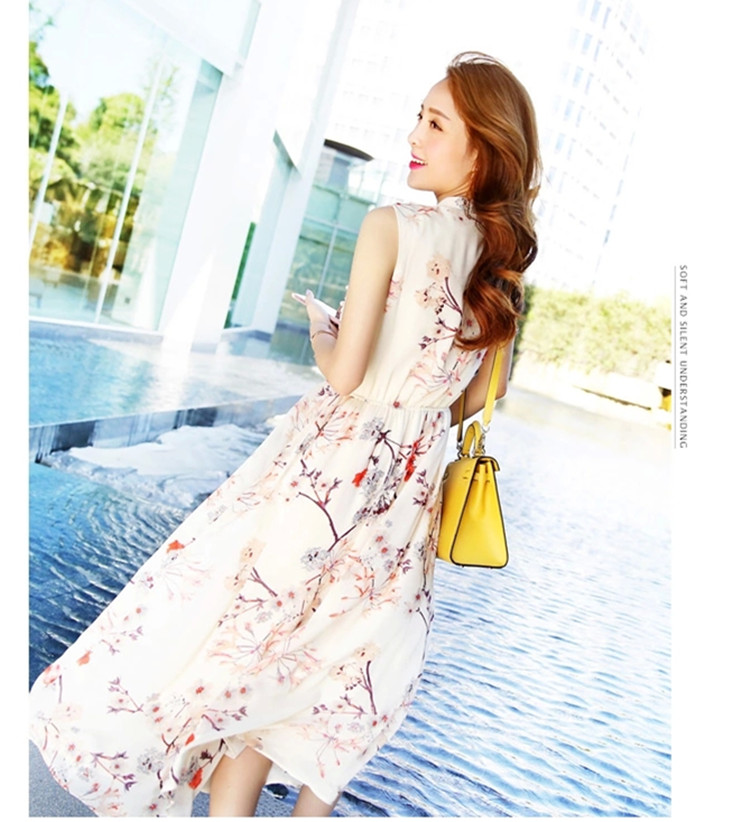 韩版潮妈时尚外出哺乳雪纺连衣裙修身显瘦印花无袖孕妇产后长裙