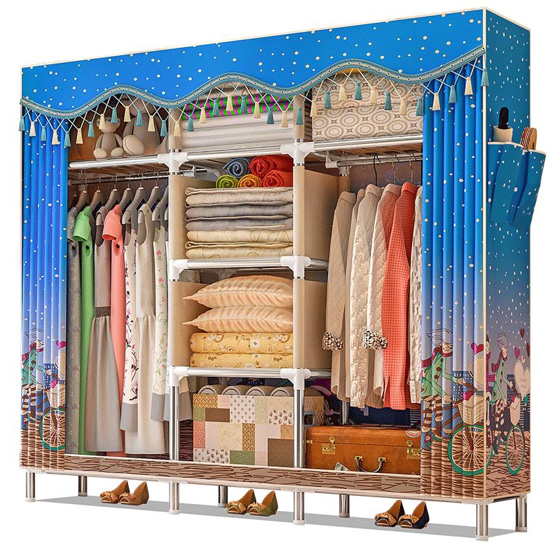 简易衣柜简约现代经济型布衣柜钢管加粗加固钢架组装牛津布艺衣橱