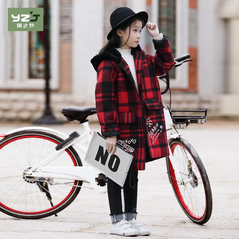 冬装新款大女童中长款外套少女毛呢大衣儿童加厚格子上衣韩版百搭