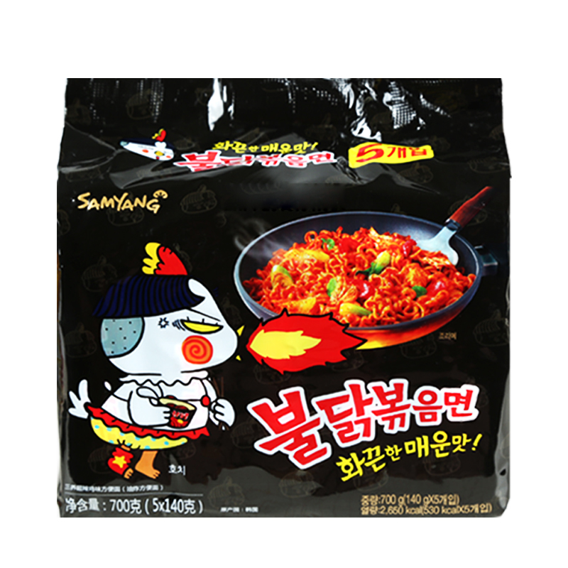 韩国进口三养火鸡面5袋超辣方便面辣鸡面特辣速食泡面拉面干拌面