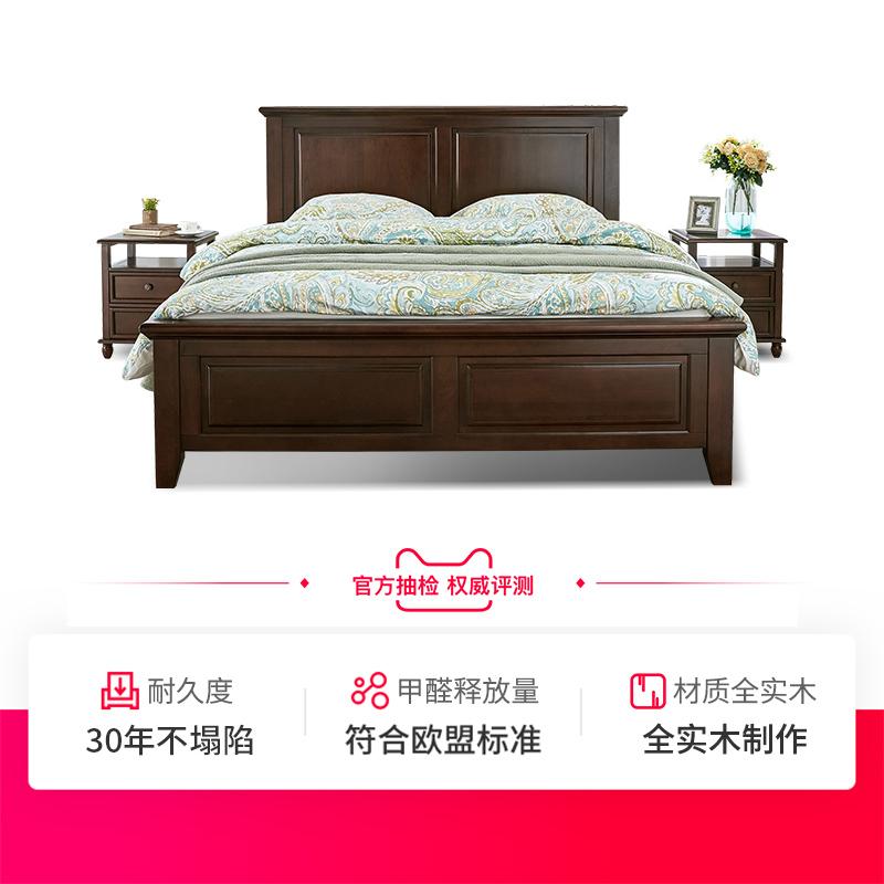 美式实木床1.8米双人床婚床现代简约储物主卧1.5m熙和樱桃木家具