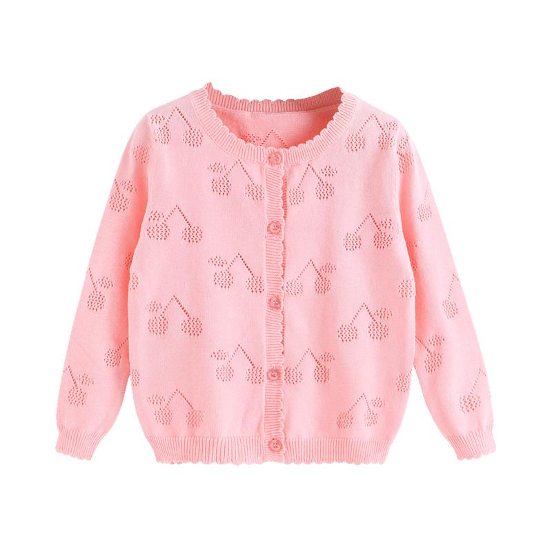 女婴针织开衫3岁婴儿空调衫薄女宝宝秋装小儿童纯棉2毛衣外套女童