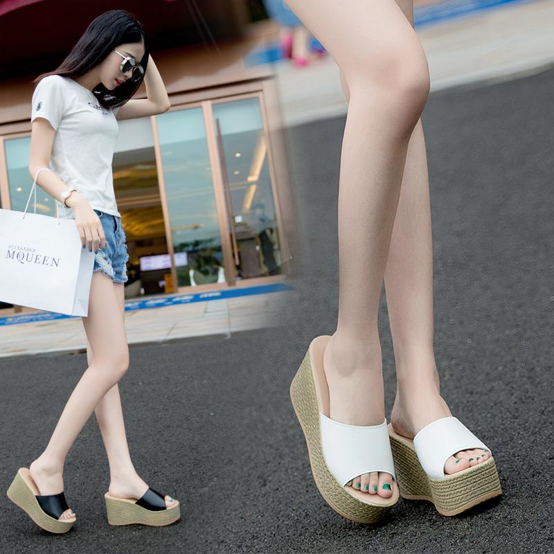 2019夏季新款韩版女士拖鞋防水台坡跟凉拖厚底高跟松糕底一字拖鞋