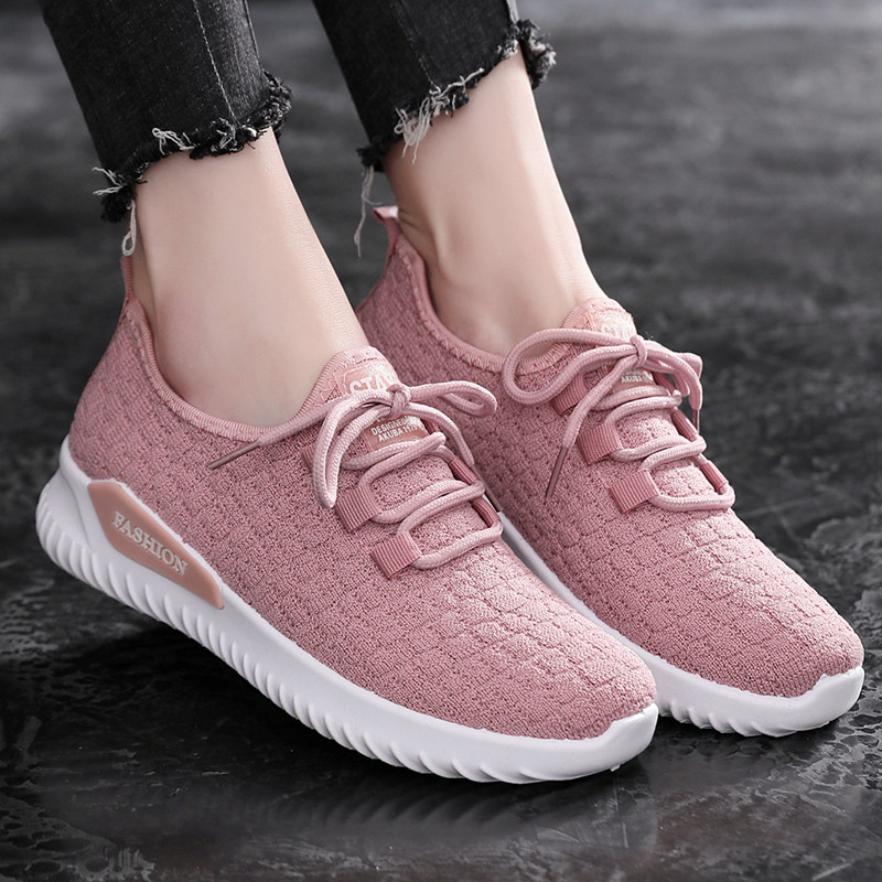 2019夏季新款網鞋透氣飛織運動鞋女輕便軟底一腳蹬網布學生懶人鞋