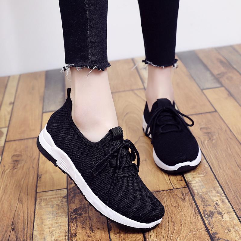 女鞋2018新款网鞋韩版运动鞋女黑色透气飞织跑步鞋休闲鞋软底单鞋