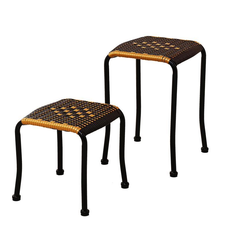 藤编凳子塑料时尚小板凳加厚成人家用餐桌凳茶几凳高凳藤椅小方凳