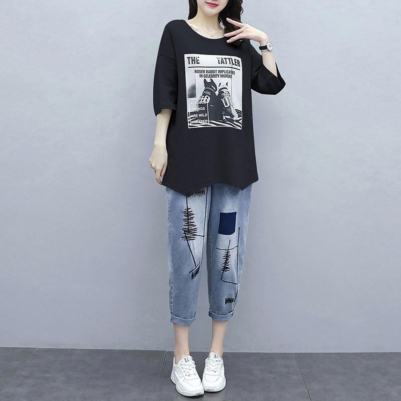 超迷人服饰【百搭显瘦】小个子时尚套装女2020春夏新款韩版T恤宽