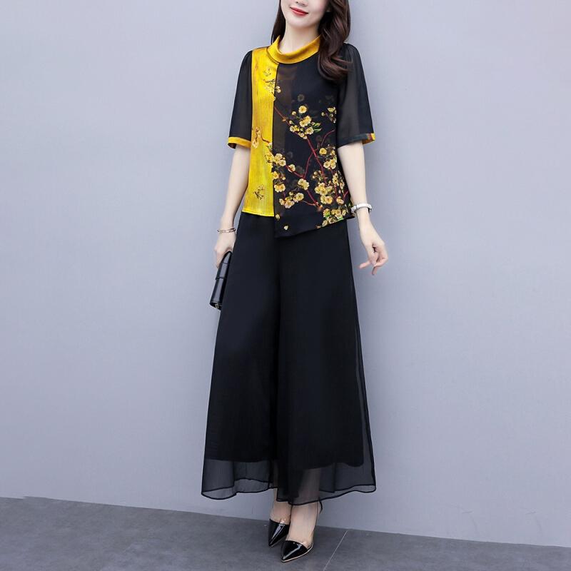 超迷人服饰【618抢先购】大码女装2020夏装遮肉显瘦套装印花上衣
