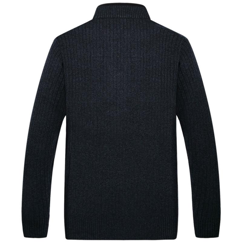 伯思凯秋冬新款开衫男士中年羊毛针织衫时尚休闲立领纯色毛衣外套