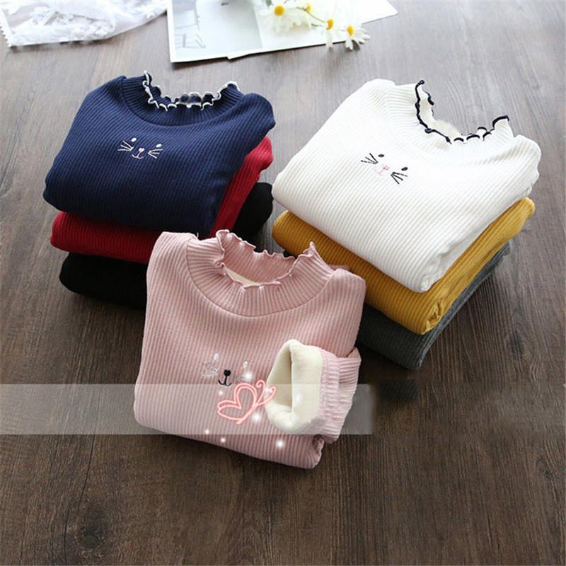 女童洋气加绒打底衫2020秋冬新款宝宝加厚长袖T恤绒衫儿童卫衣潮