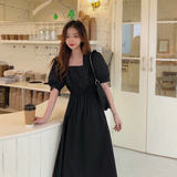 Summer new retro lantern sleeve waist was thin temperament Hepburn Korean cotton is immortal Black Dress