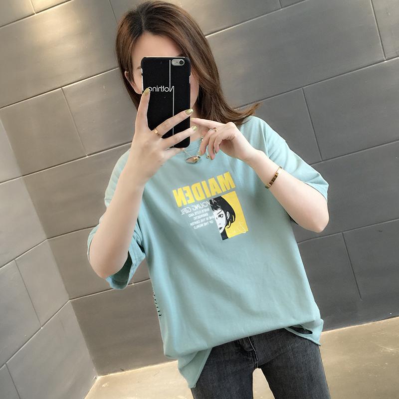 短袖纯棉t恤女夏装2021年新款夏季宽松女装设计感小众上衣服ins潮主图