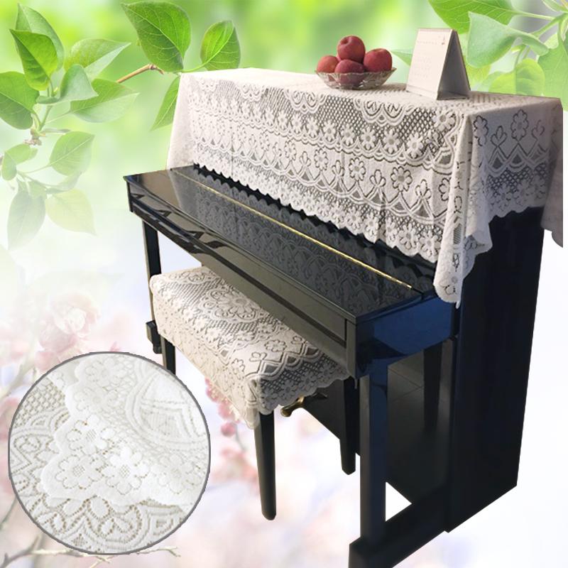 包郵蕾絲防塵鋼琴全罩 加厚繡花古箏電子琴布藝半罩 簡易樂器簾