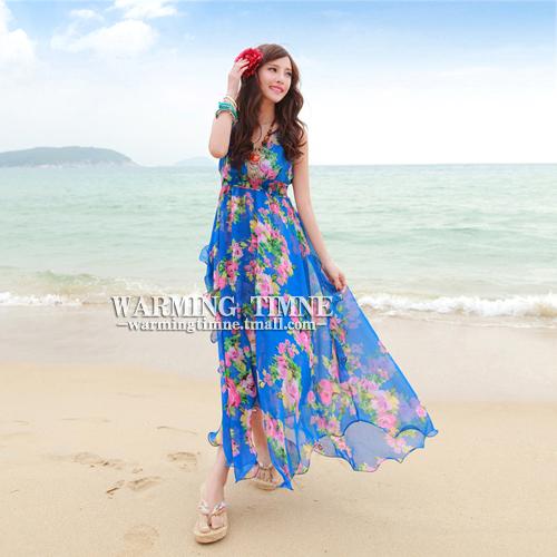 沙滩裙2019新款波西米亚长裙夏女海滩雪纺海边度假泰国旅游连衣裙