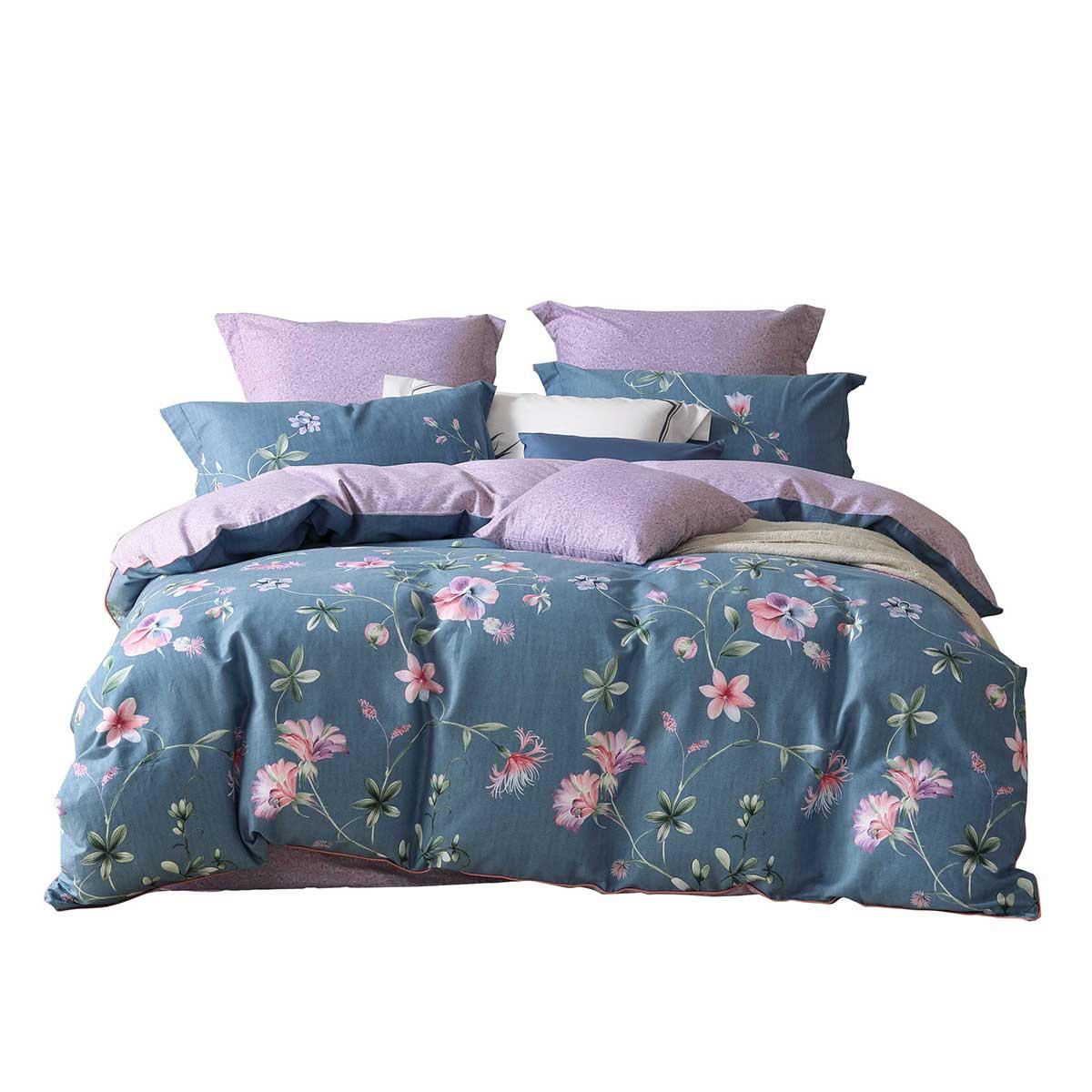 水星百丽丝家纺正品床上四件套全棉纯棉磨毛床单被套1.8m微风山谷