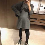 Autumn and winter new style striped lazy loose pocket jacket in the long section of pregnant women thick T-shirt warm