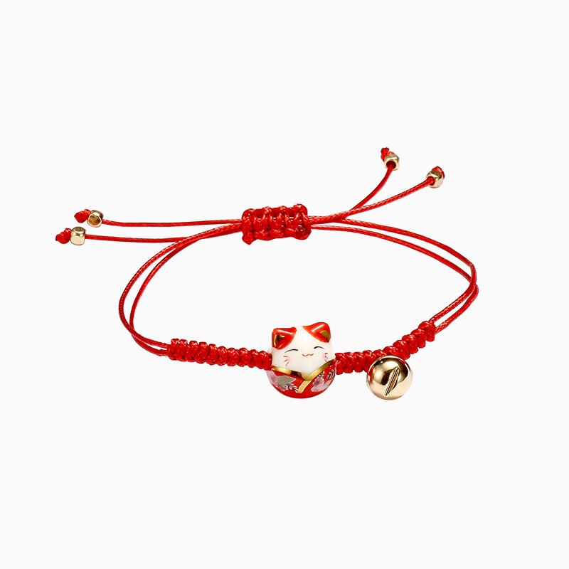 网红简约陶瓷招财猫转运手绳学生闺蜜本命年红绳手链女手工编织绳