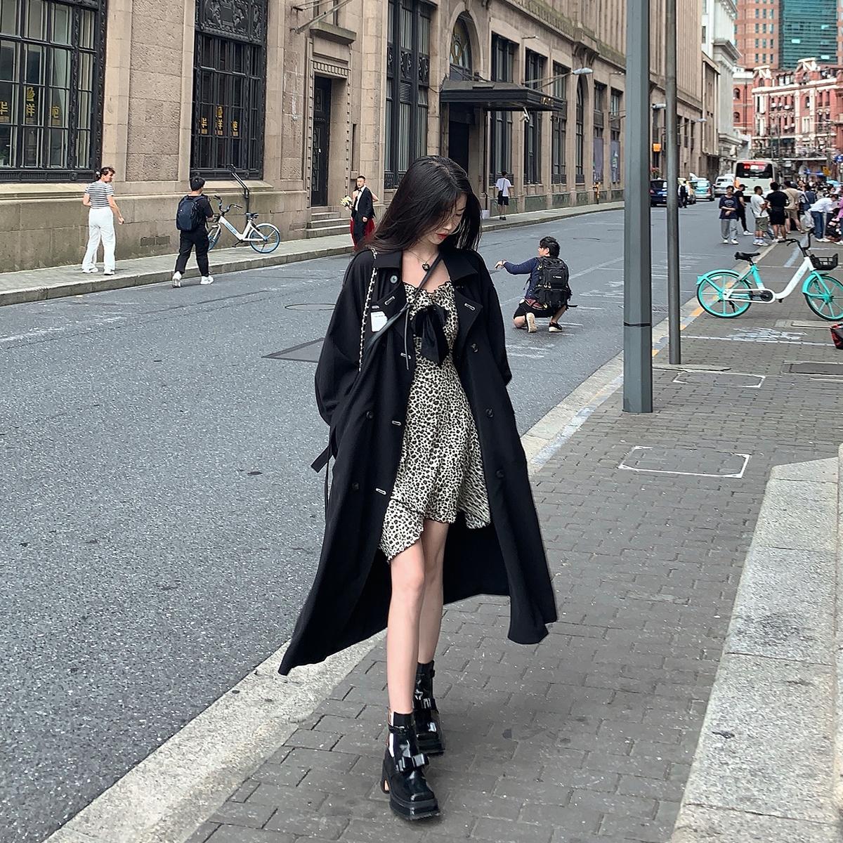 浅川酒一黑色风衣女 秋季新款双排扣方领外套小个子中长款上衣  2021