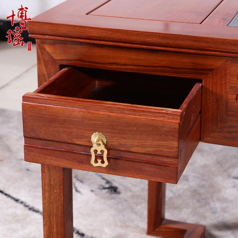 仿古红木茶桌本色简约花梨实木家具茶几新中式功夫茶台椅组合