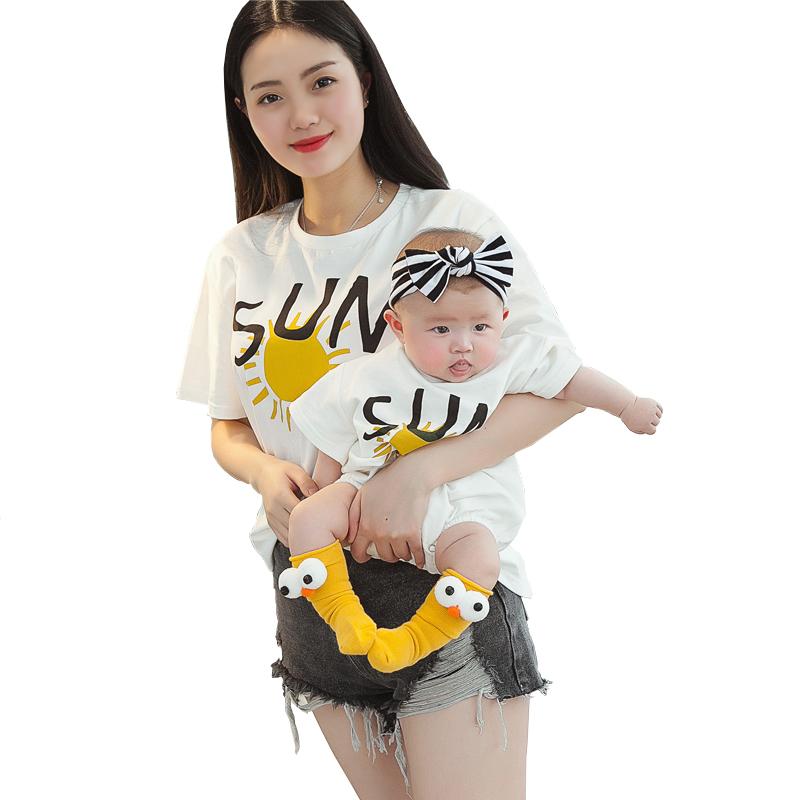婴儿亲子装夏装全家装母女装母子装洋气一家三口四口短袖 恤夏季  t