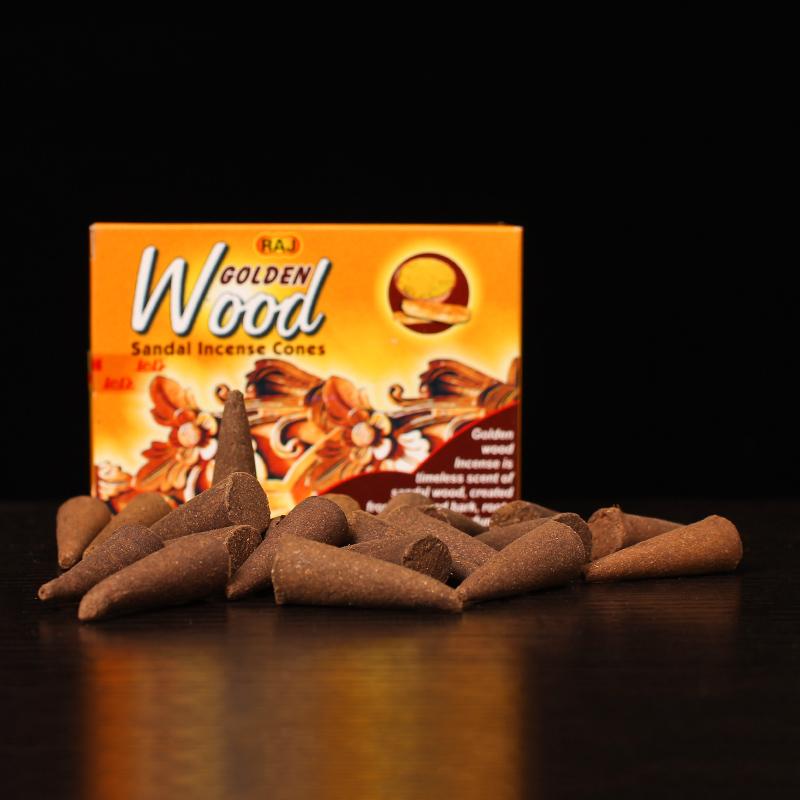 RAJ印度香 黄金木Wood 原装进口老山檀香手工香薰熏香塔香锥香179